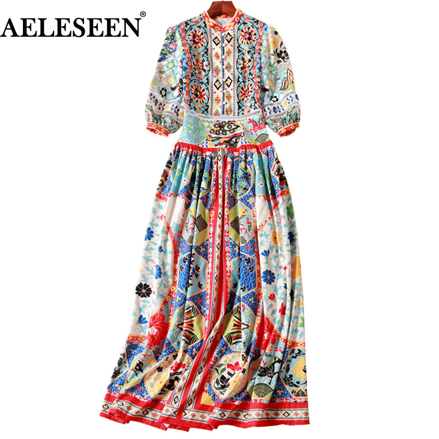 Fashion Ethnic Vintage Long Dresses 2018 3 4 Sleeve High Quality Luxury Patchwork Print Ankle Length