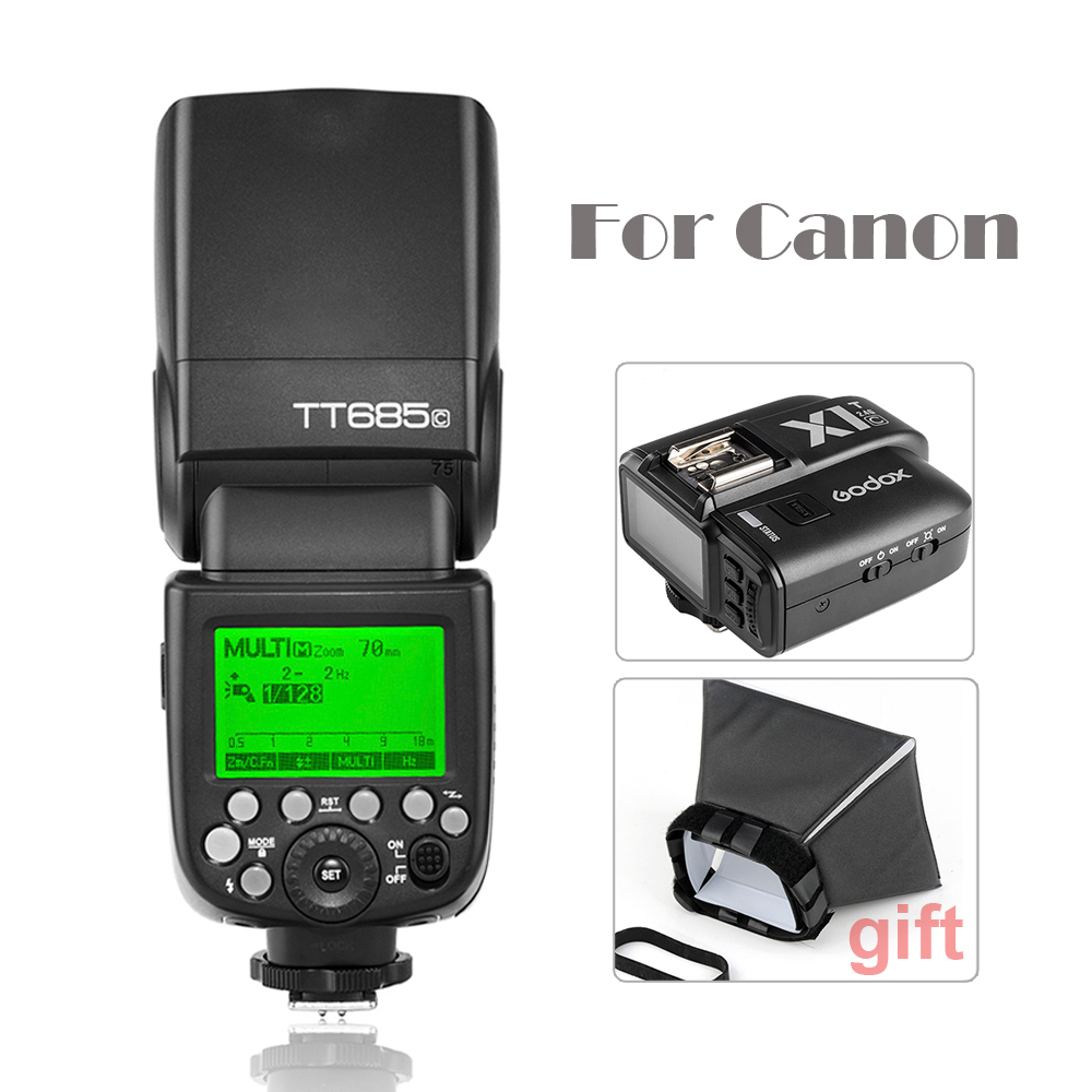 Godox TT685C Camera Flash Light Speedlite HSS with TTL for Canon DSLR+Wireless Remote Flash Trigger+Flash Diffuser Softbox nice ott 16 universal wireless remote flash light speedlite trigger receiver for canon nikon