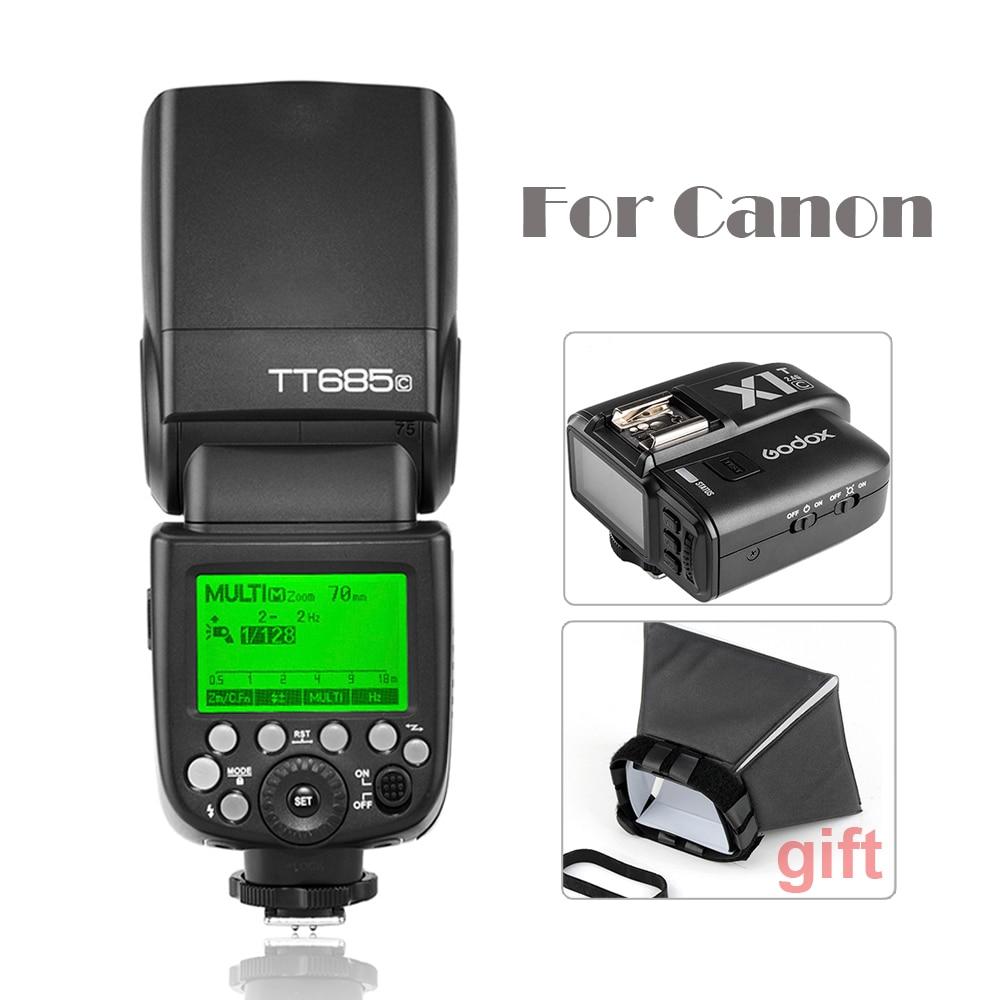 Godox TT685C Camera Flash Light Speedlite HSS with TTL for Canon DSLR+Wireless Remote Flash Trigger+Flash Diffuser Softbox