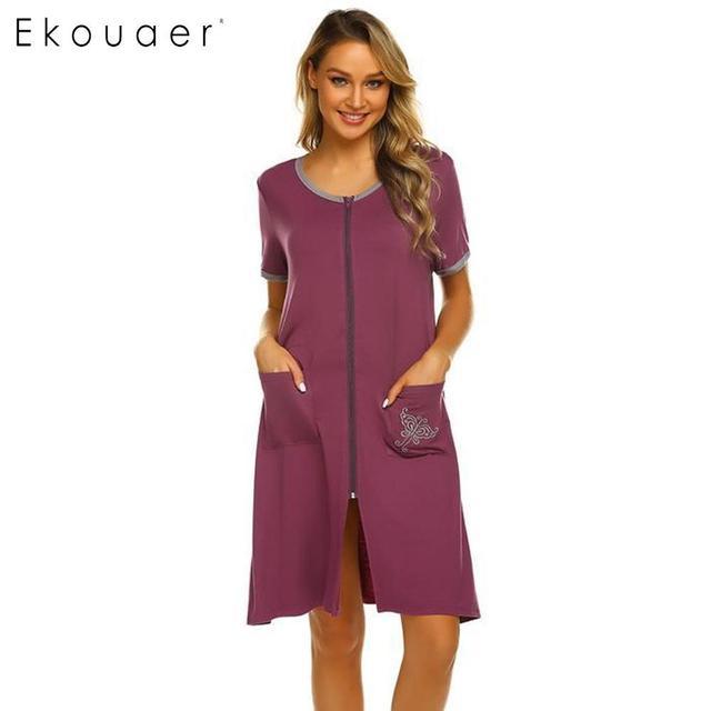 قميص نسائي من Ekouaer قميص نوم من القطن برقبة دائرية وأكمام قصيرة وسحاب أمامي فستان نوم فضفاض فستان نسائي للنوم