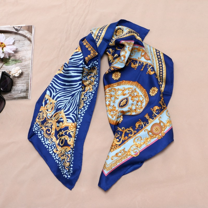 Image 5 - Fashion Prints 100% Silk Scarf Shawl Womens High Quality Hijab Head Scarves 88X88CM-in Women's Scarves from Apparel Accessories