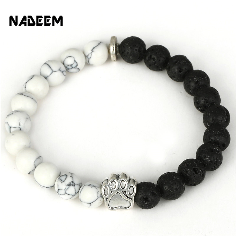 NADEEM 2017 New Pitbull <font><b>Dog</b></font> Hand Paw Charm 8mm White Howlite & Lava Stone Mala Bead Yoga Elastic <font><b>Bracelet</b></font> For Men Women Gift image