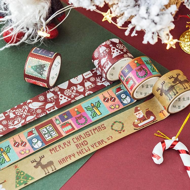 Kawaii Christmas Santa Claus Masking Washi Tape Decorative Adhesive Tape Decora Diy Scrapbooking Sticker Label