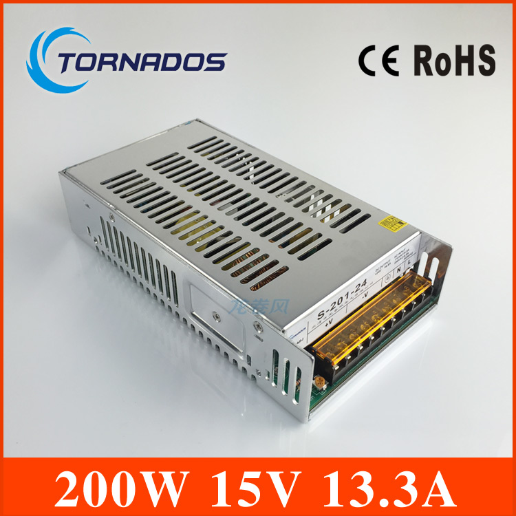 manufacturer direct sale CE approved hot selling S-201-15 small 13.3A 15v power supply 200W single output metal case high quality manufacturer direct sale switch power supply 800w 15v scn 800 15