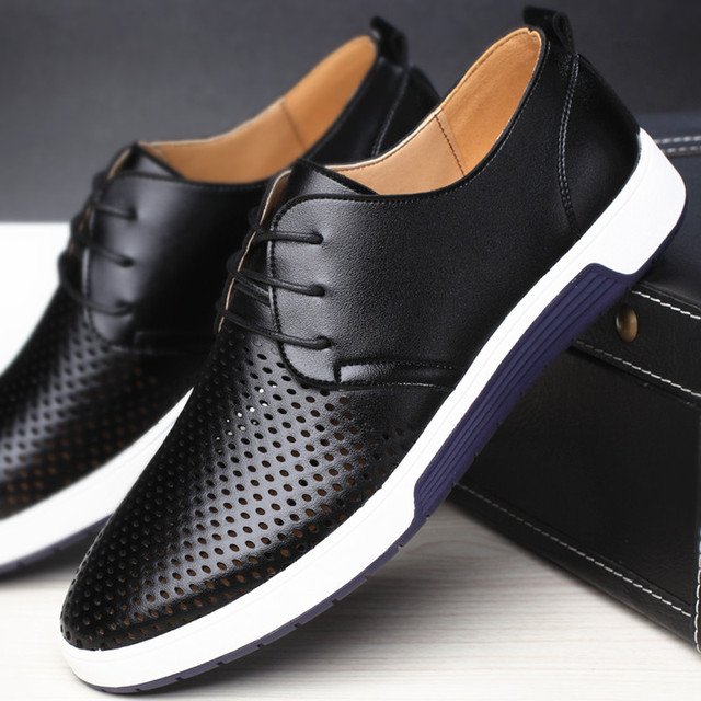 Men Casual Shoes Leather Summer Breathable Holes Luxury Brand Flat Shoes for Men