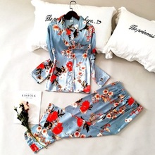 Женская шелковая пижама Daeyard, комплект из 2 х предметов, рубашка с длинным рукавом и цветочным принтом и штаны, повседневная домашняя одежда для девочек, 2019