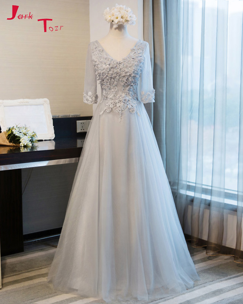 Jark Tozr 2019 New Design V-neck Three Quarter Sleeve Lace Up Formal Gowns Flowers Appliques Beading Grey   Bridesmaid     Dresses