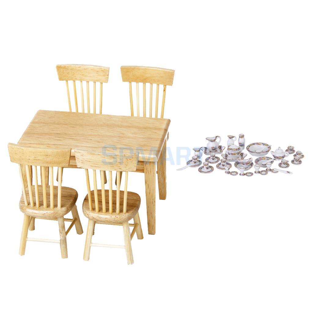 Esstisch Stuhl Möbel Kit Zubehör für Kid Pretend Play Toy