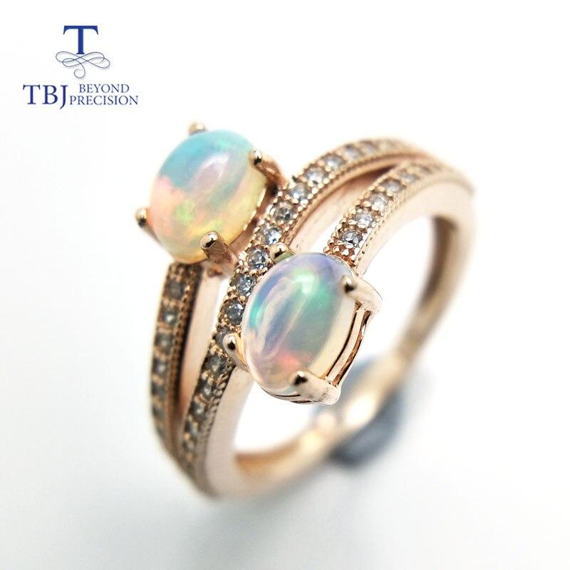 TBJ, bague opale colorée éthiopienne naturelle en argent sterling 925 mode design élégant spécial pour les femmes filles comme cadeau avec boîte
