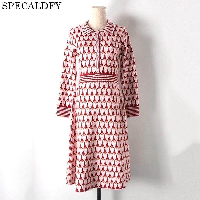 2018 Luxury Designer Winter Knitted Dress Runway Dresses Women High Quality Love Heart Print Sweater Dresses Party Vestidos