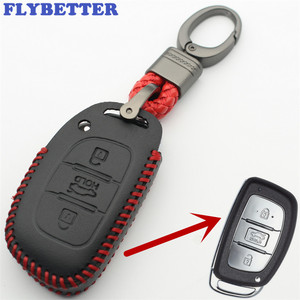 FLYBETTER 2Pcs/lot Genuine Leather KeyChain 3Button Smart Key Case Cover For Hyundai Sonata9/Tucson/Elantra/Verna L277(China)