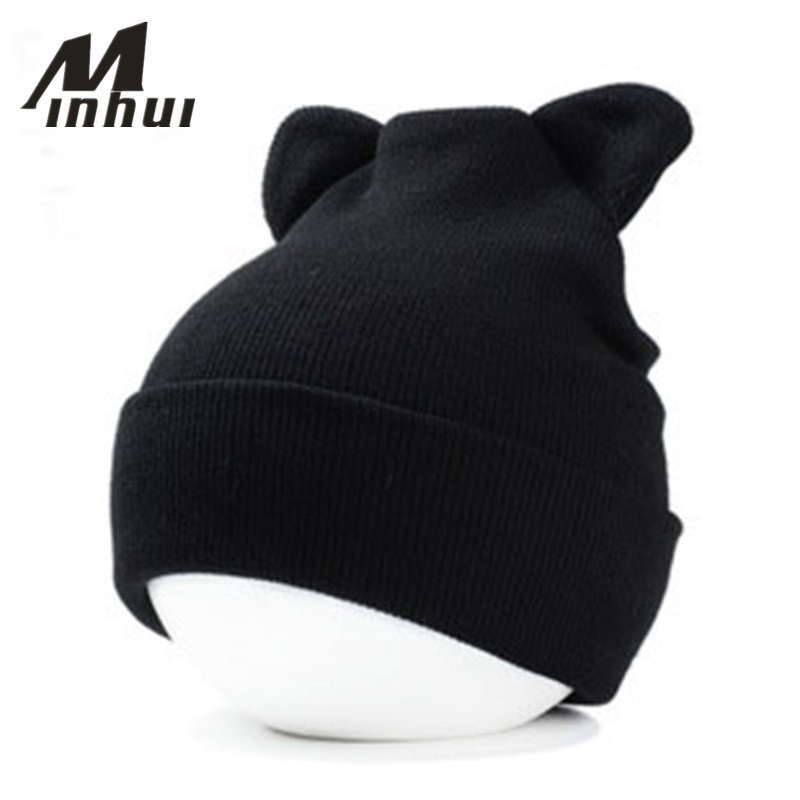 Minhui Cute Ears Cap Women Winter Beanie Hat Knit Gorro Touca Skullies Bonnet Women Winter Caps Hip Hop Hats Men Casual Beanies new fashion women autumn hat caps for girl rivet knit beanie skullies colors men casual hip hop hats adult winter bonnet shop