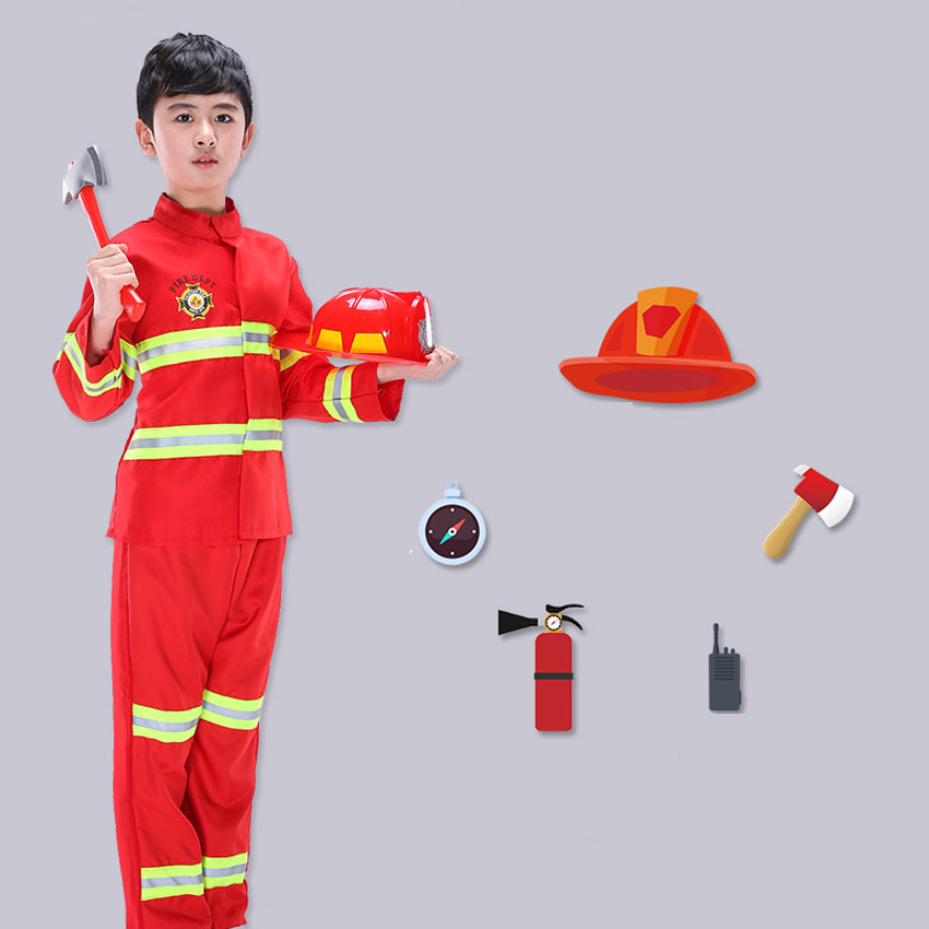 Halloween Fancy Cosplay Firefighter Costumes Red Reflective Jackets with Fireman Toys Cap Boys Girls Clothing Set Role-play