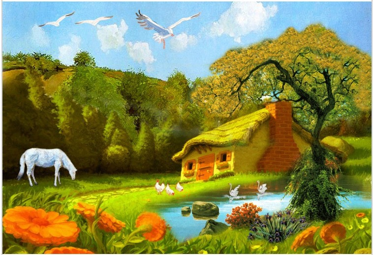 Limited Crafts Embroidery Novelty 3d Diy Diamond Painting Beautiful Mountian Hut Horse Lake Hand Cross Stitch Inlay Scroll B285