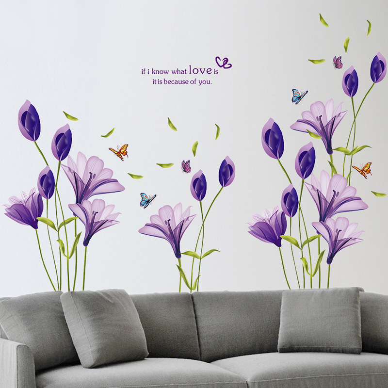 110180cm Love Purple Lily Flower Butterfly Removable Living Room