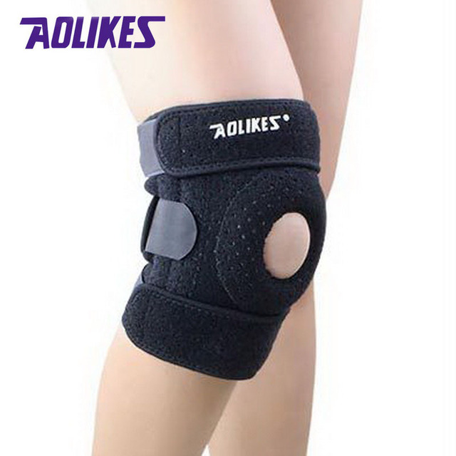 AOLIKES 1 Pcs Breathable Running Cycling Knee Pad Kneecap Damping 4 Springs Support Protector Kneepad Protective Gear Wholesale