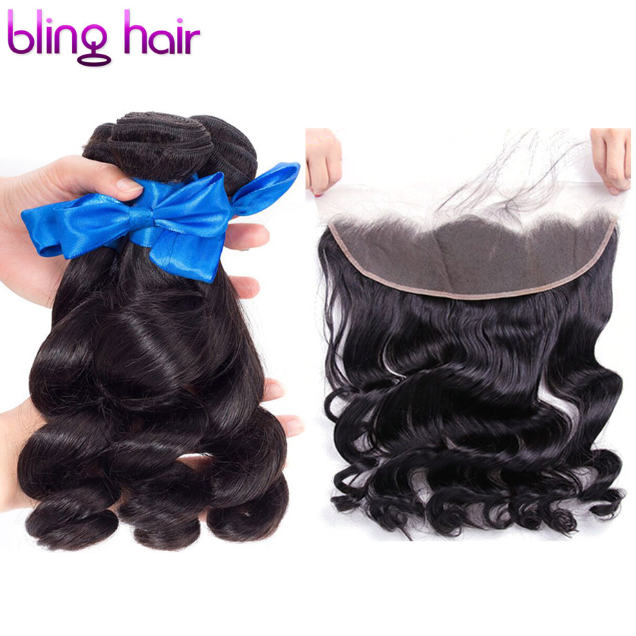 Bling Hair Brazilian Hair Loose Wave Hair 3 Bundles with Closure Lace Frontal With Bundles Deals