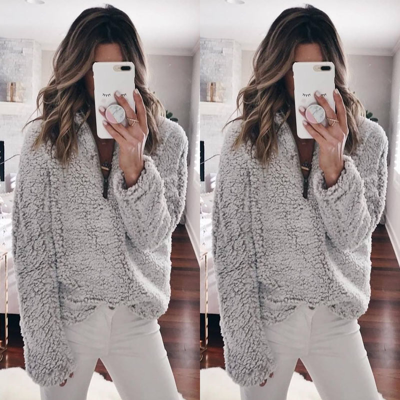 Women Wool Warm Clothes Blouse Pullover Tops Coat Zipper Neck Autumn Clothing Winter Women's Clothing Long Sleeve Top 2