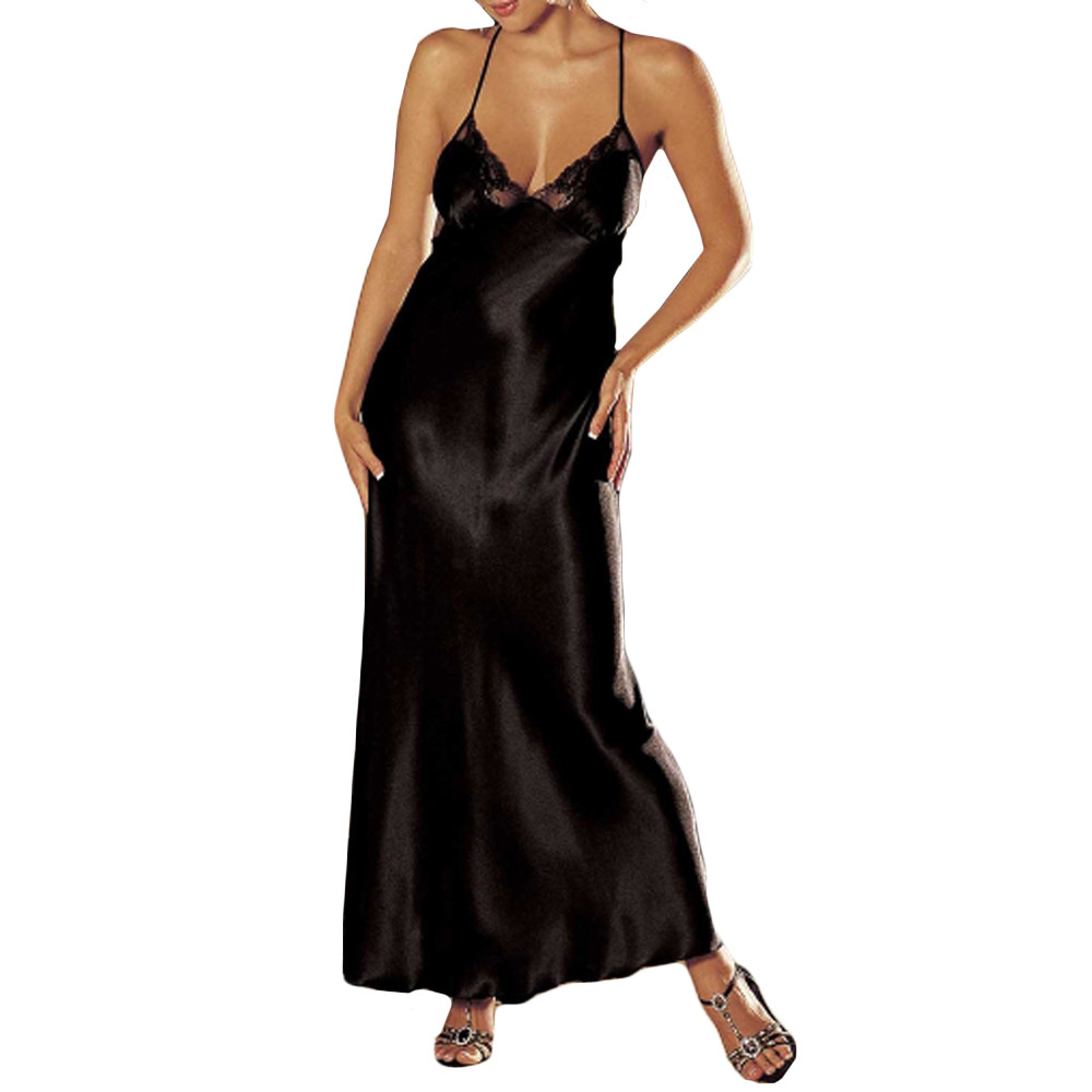 Plus size night dress nightgown sexy nightwear lace patchwork camisola lingerie nighty silk long dress sleep wear clothes