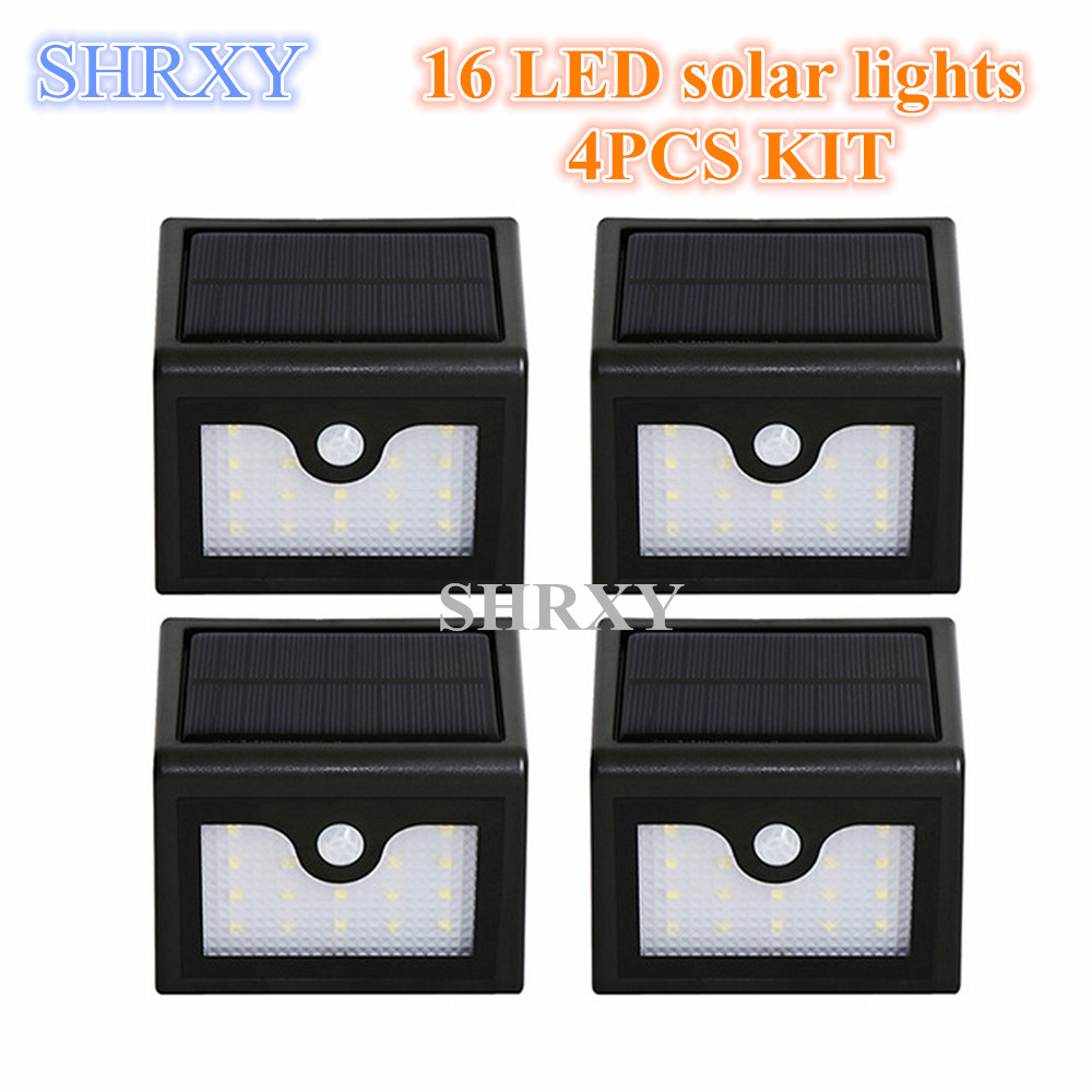 2016 newst 4pcs kit 16leds waterproof LED IP65 solar lights LED solar lights solar LED outdoor lamp wireless motion sensor light ds 360 solar sensor led light black