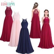 Iiniim robe princesse dété en dentelle pour enfants, robe de mariage pour bal, Costume Tutu pour adolescentes