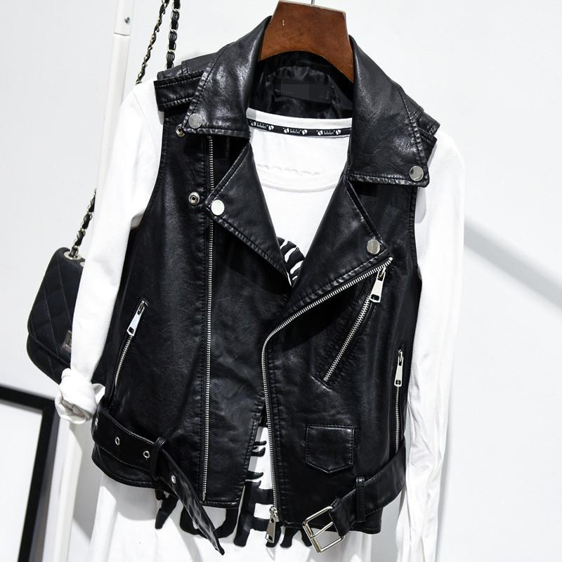 Plus Size Black Sleeveless Pu   Leather   Jackets Winter Jacket Women Pu Belt Veste Motorcycle Jacket Waistcoat Vest Rivet Vests