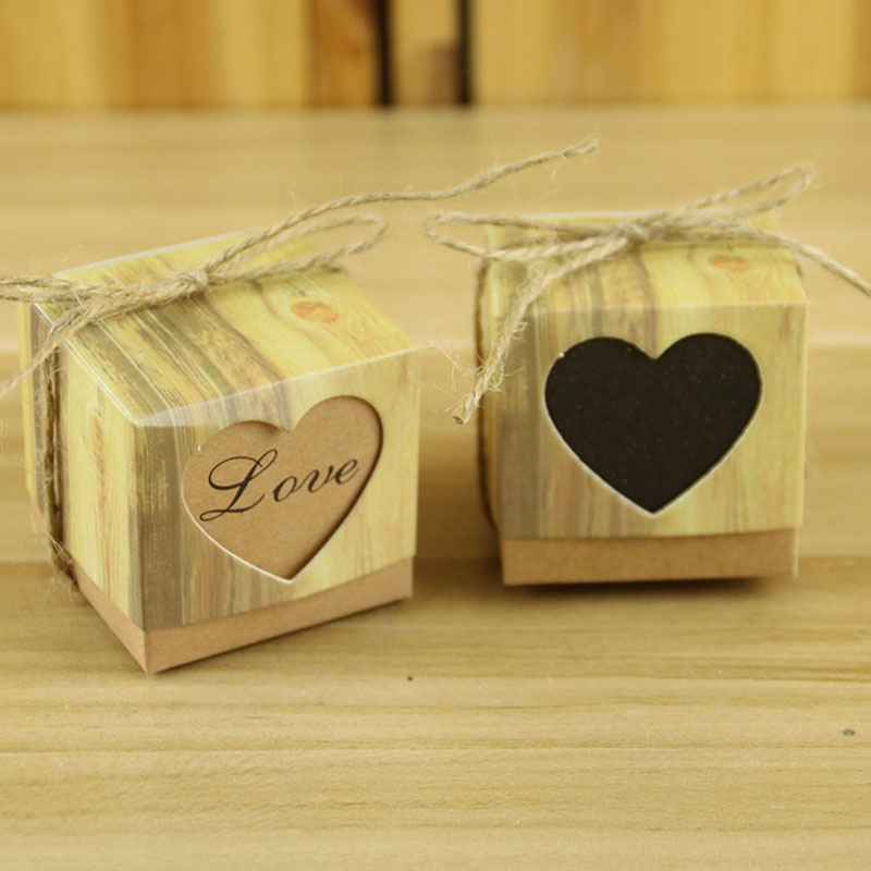 Vintage Love Heart Dragees Box Kraft Packaging Gift Wedding Party Favors 50pcs/lot factory direct selling