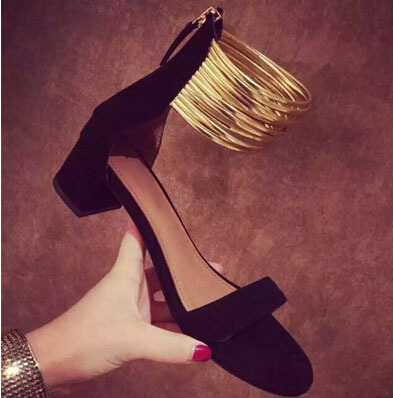ФОТО summer street style woman charming black beige suede leather square heel sandals fashionable gold narrow band design dress shoes