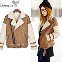 European and American Leather Coat Clothes Cotton-padded Clothes Regular Turn-down Collar Full Slim Office Lady Spliced Fashion