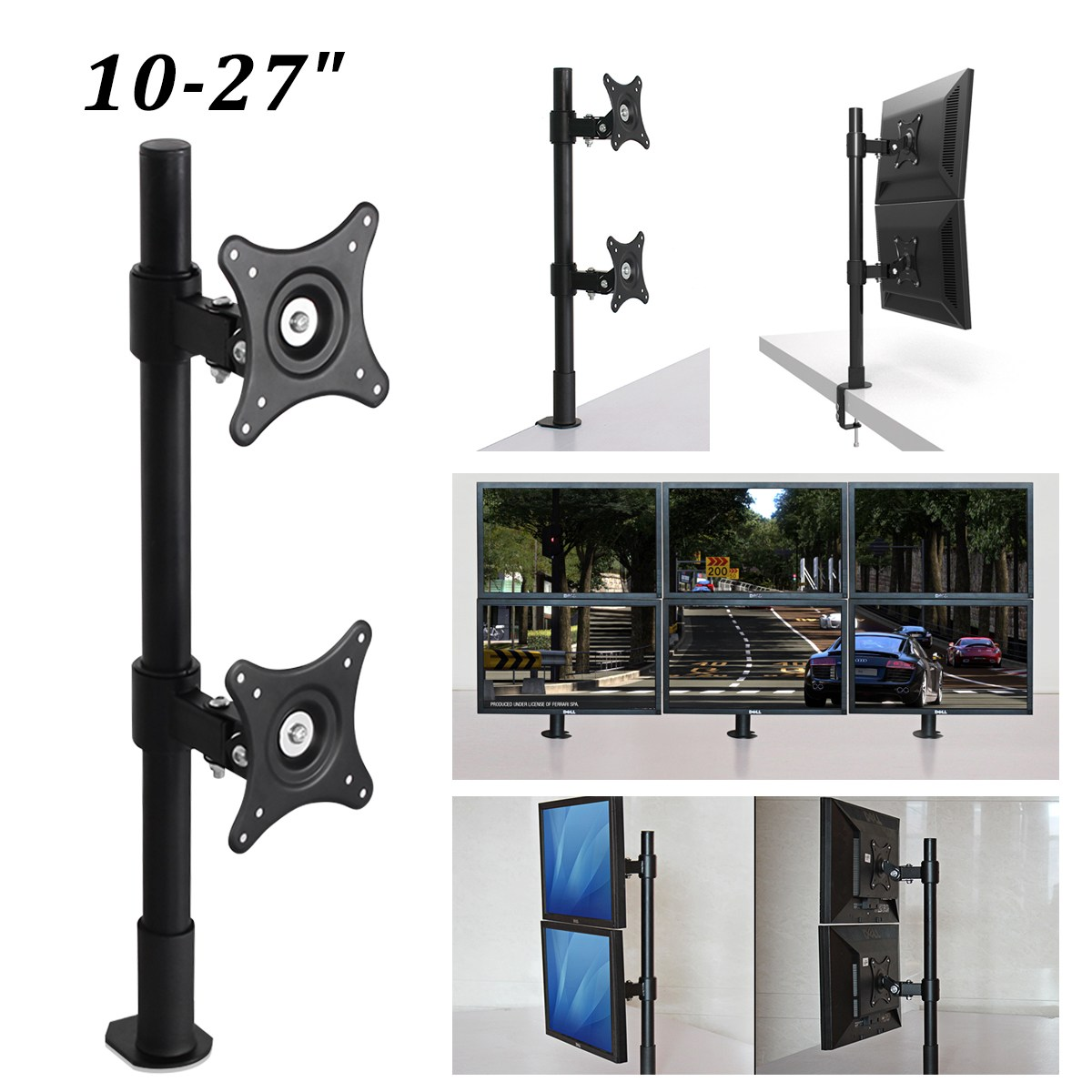360 Degree Single Monitor Holder 10-27LCD LED Monitor Mount Arm