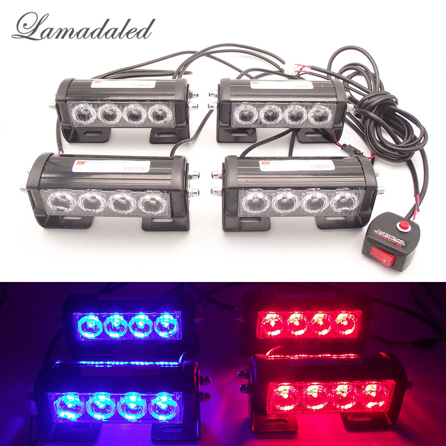 цены 4pcs 4led Police vehicle strobe lamp emergency car led strobe light bar auto grille flash warning lamp red white blue amber