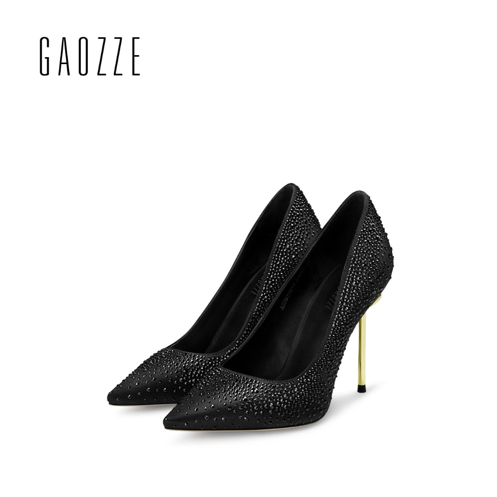 GAOZZE sexy pointed toe thin high heel pumps women 2017 lady party shoes Rhinestones shallow mouth sapatos femininos de salto