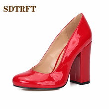 SDTRFT Stiletto female Spring Autumn shoes woman 11cm Thick High-Heeled Round Toe sexy Ladies RED wedding pumps Plus:35-45 46 llxf summer transparent ankle boots 10cm thin high heeled crossdresser punk shoes woman stiletto female red wedding pumps