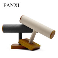 FANXI Wooden Jewelry Display T Type Jewelry Stand Microfiber Necklace Bracelet Display with Showcase Jewelry Holder
