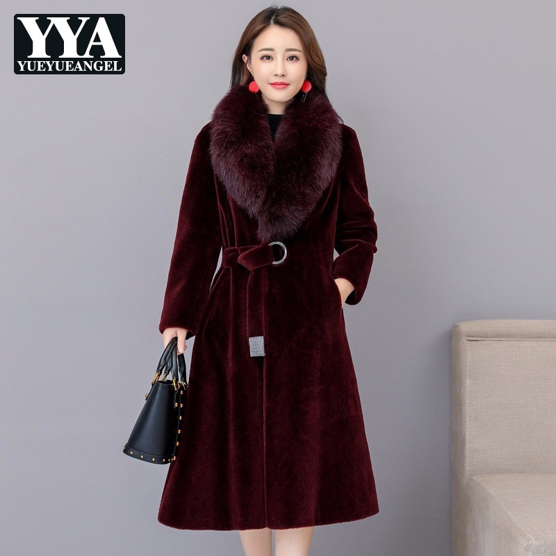 Высокое качество роскошные Для женщин из искусственного лисьего меховой воротник Шерстяное пальто куртка Женский Slim Fit Для женщин теплые ш
