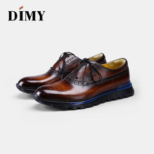DIMY mens leather handmade summer business casual England wear-resistant dress shoes