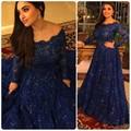 Sparkly Vestidos de Noite Do Vintage Barato Mangas Compridas Beads Cristais Ruffled Sweep Trem Árabe Marinha Laço Azul Formal Prom Vestidos