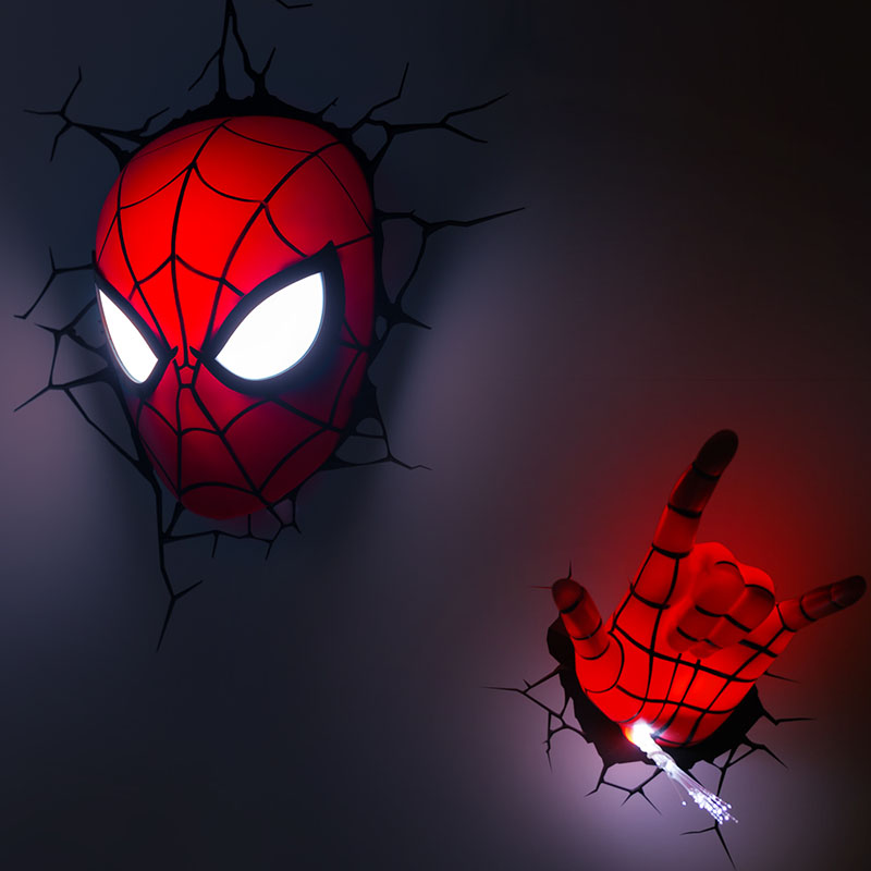 The avengers hand spider man mask hand style wall lamp 3d deco led the avengers hand spider man mask hand style wall lamp 3d deco led wall light night light art bedroom decoration gift in night lights from lights lighting aloadofball Images