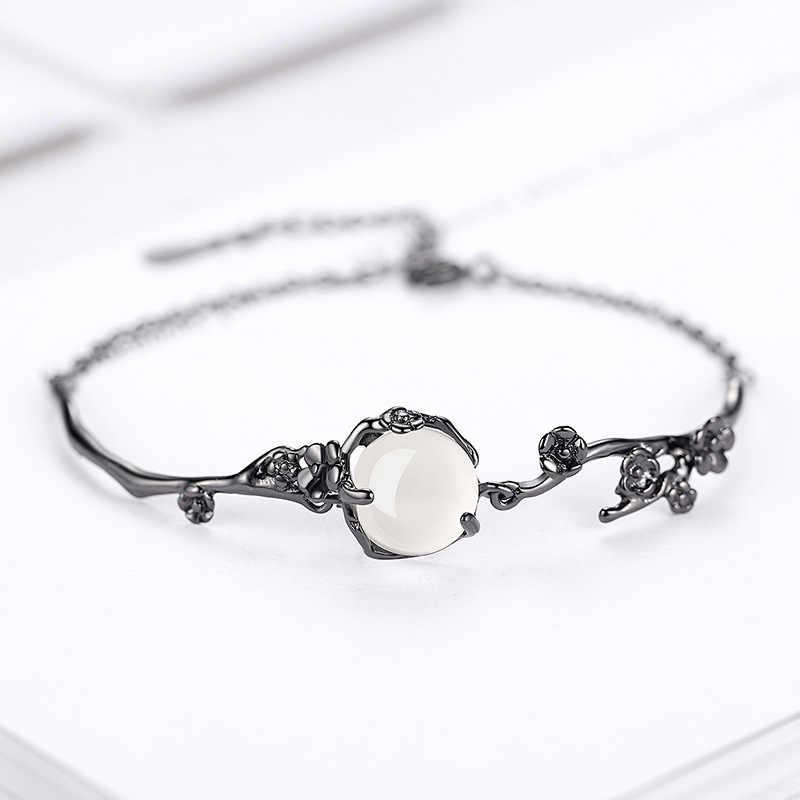 100%เงินแท้925แฟชั่นสีดำดอกไม้สีขาวธรรมชาติโมราladies'braceletsผู้หญิงโซ่สร้อยข้อมือc harmขายส่ง