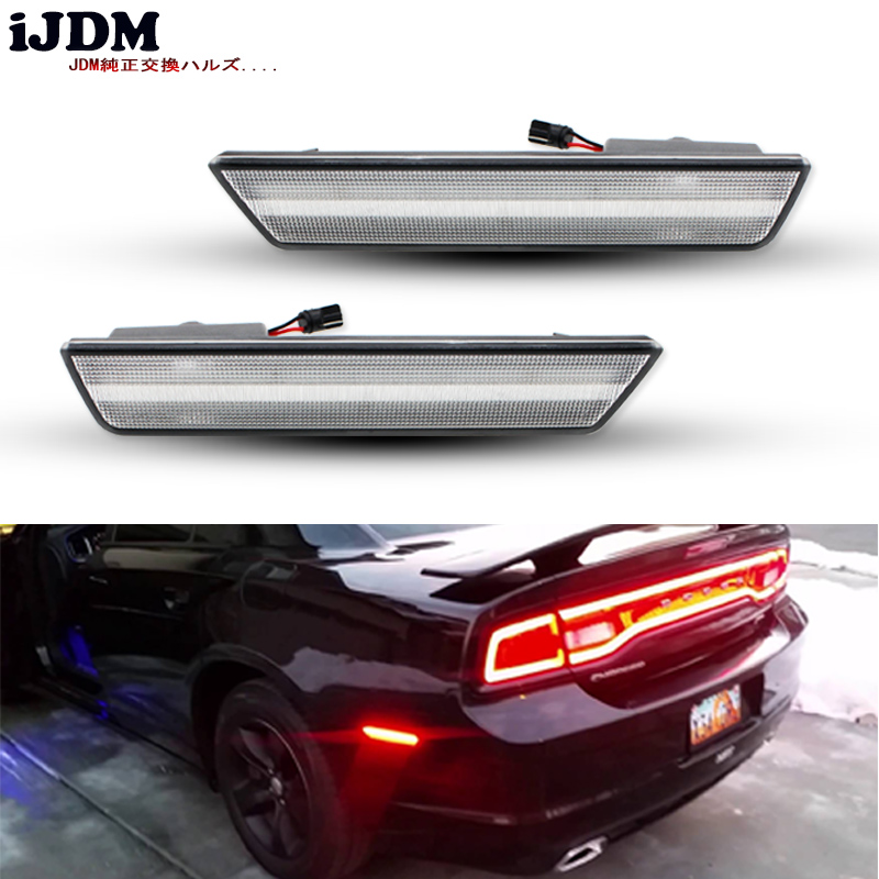 iJDM Car Rear Side Marker Lamps with 36-SMD Red LED Lights For 2008-2014 Dodge Challenger,For 2011-2014 Dodge Charger 12v 4pcs 2 red 2 amber hd led fender bed side marker lights smoked lens for dodge ram