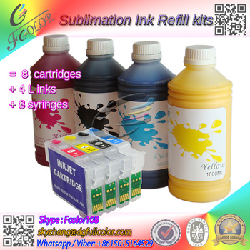 Free shipping 4*1000Ml Bottle BK C M Y Sublimation Ink With refillable ink cartridge for Epsn T1811-4
