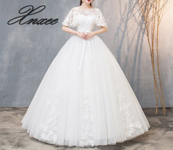 2019 new white lace dress in the sleeves temperament elegant dress