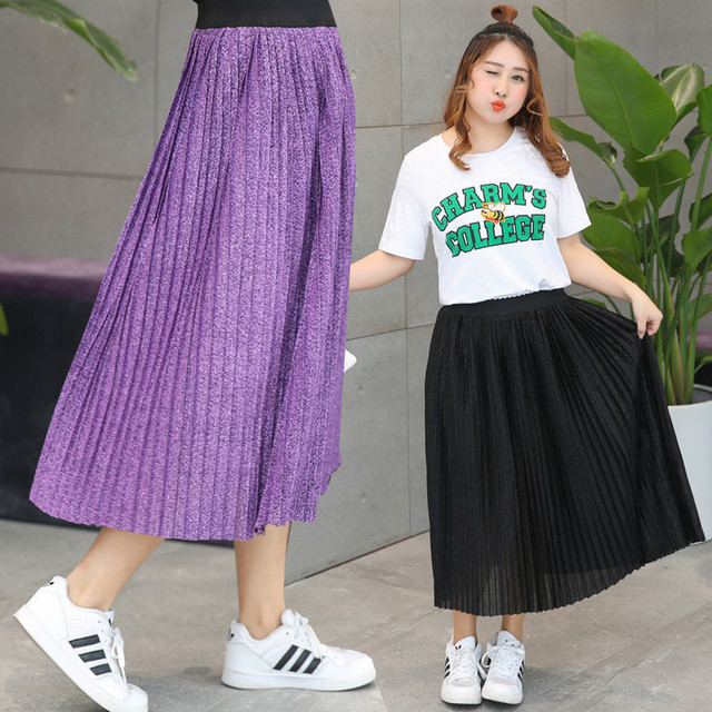 9bc70570da19 Vagary Plus Size Pleated Skirt Women Metal Plain Brief Elastic Waist Beach  Midi Skirts New Fashion Summer Ladies Casual Skirt
