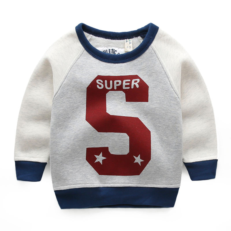 2016 new brand autumn winter boys fashion hoodies super letter warm sweatshirt thick casual sweater children clothes fleece tops