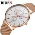 Biden de primeras marcas de lujo relojes hombres de acero inoxidable de malla deportes impermeables de hombres reloj de oro reloj de pulsera ocasional del relogio masculino