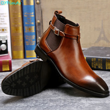 High Quality Men Genuine Cow Leather Buckle Ankle Boots Handmade Square Toe Formal Luxury Mens Dress