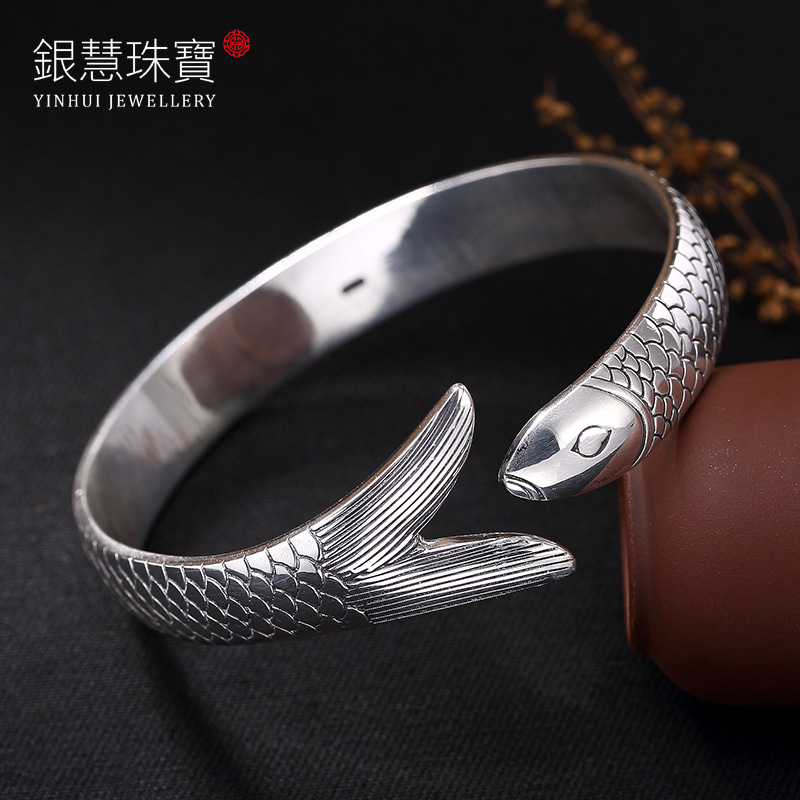 2018 Hot Sale S999 Fine Silver Carp Thai Silver Restoring Ancient Ways Ms Speak Thai Silver Bracelet Gifts Wholesale Agents