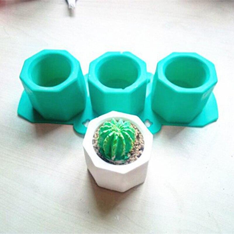 Concrete Flower Pot Silicone Mold Polygonal Geometric Shape Cement Planter Mould