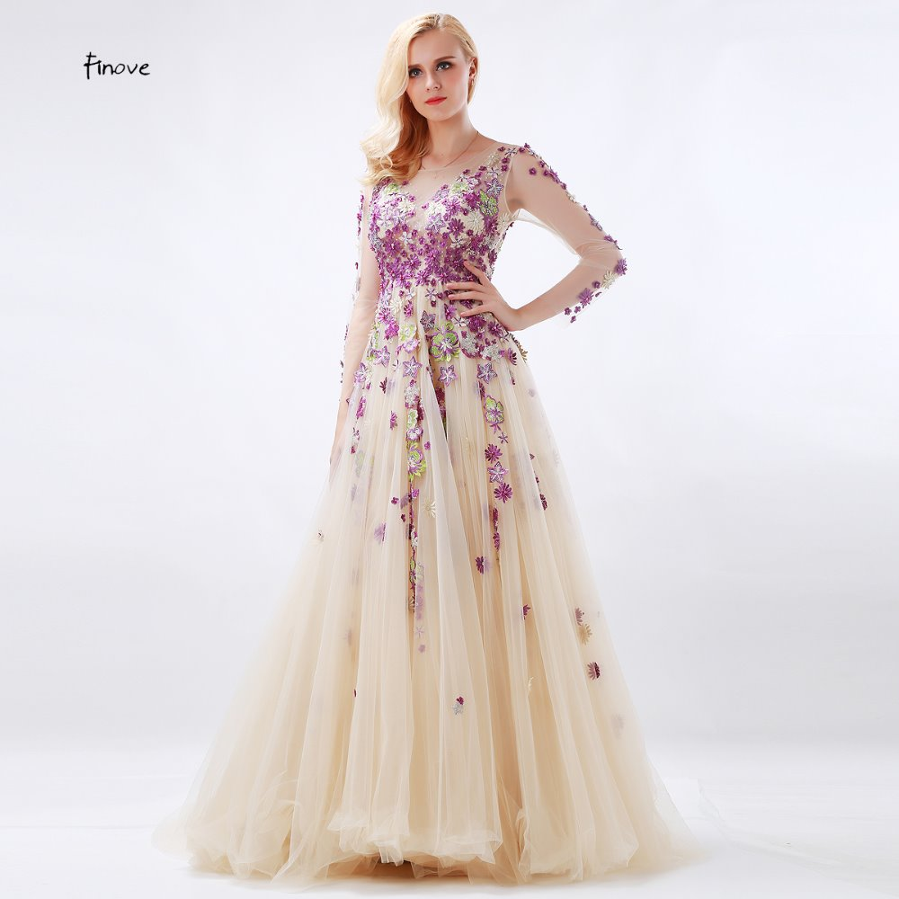 cdc09b0bf8 Detail Feedback Questions about Long Elegant Beading Applique Evening  Dresses With Scoop Neck See Thought Long Sleeve Floor Lenght Prom Gowns  Robe de Soiree ...