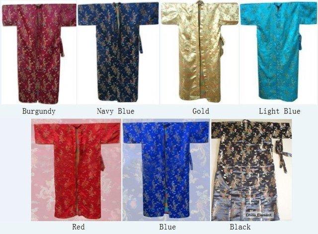 Envío de La Manera hombres Chinos Satin Polyester Robe Kimono Bath Vestido de Phenix Del Dragón Sml XL XXL XXXL MR-003